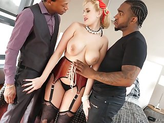White hooker Investor Wicky gets double penetrated by two horny dark-skinned guys