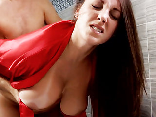 Horny brat forcibly be captivated by busty stepmom