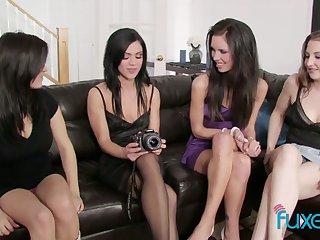 Red-letter lesbian orgy featuring four oversexed beautiful girlfriends