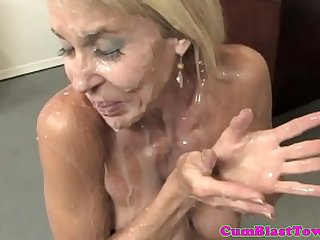 fair-haired milf adores when her team up cum on her beautiful face added to mouth