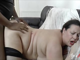 BBW fucked anent their way bald cunt hard by a big black cock