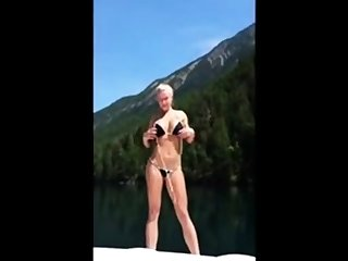 Hot body blonde fucked on lake boat