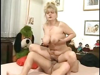 Chubby granny with huge ass rides young distress cock