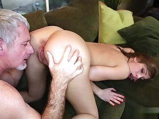 Molly Manson goes on top of daddys matured cock