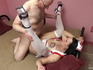 Big ass nurse fucked away from senior man and made to swallow jizz
