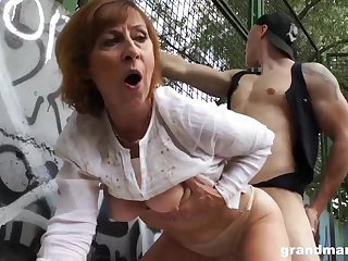 Mature dame is gargling sausage in a public place and getting poked rigid, in surrejoinder