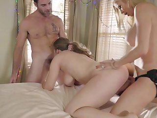 Mom coupled with daughter extreme bisexual threesome