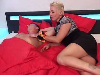 German mom Mandy Poser wakes up son with blowjob