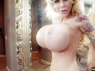 Hardcore anal creampie for Danielle Derek with boastfully fake tits