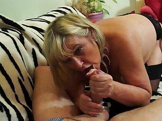 Buxom mature blonde amateur Alisha Rydes rides a horseshit and swallows cum