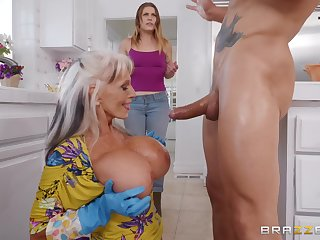 Sally D'angelo gets her cunt fucked by a handsome gay blade in the kitchen