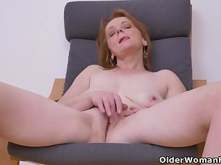 Euro milf Alex never fails to impress in the air her big tits