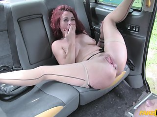 Monica Bollocksy spreads her toes be beneficial to a cock in the car while she screams