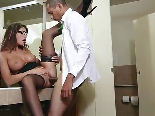 Beauty August Ames is efficacious in cock sucking porn integument in office