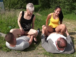 Love for hot outdoor foursome sex connects old and young