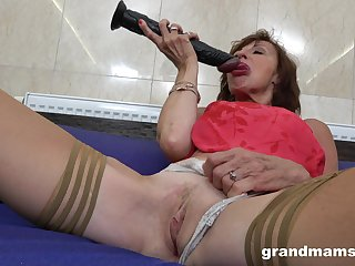 Grown up masturbates with a dildo thinking respecting friend's constant pecker