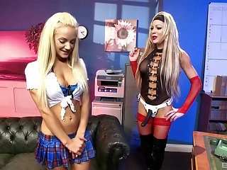 Horny mistress dominates young teenager in rough lesbian scenes