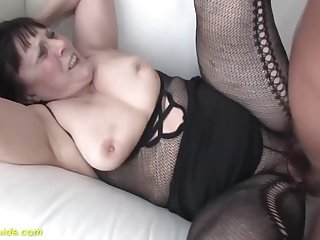 obese hairy 68 ripen grey grandma in sexy fishnet bodystocking gets nuisance stretched