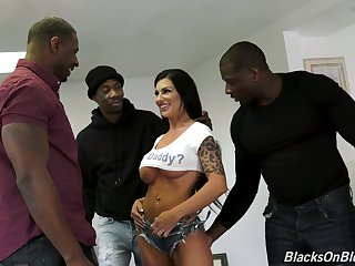 Wild dispirited busty Melissa Lynn is made to work on fat strong BBCs