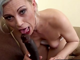 Sexy fair-haired mature women take big louring dicks nearly their mouths and give first-rate blowjobs