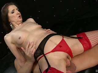 Granny Gilly Sampson concerning red stockings and underclothing loves to ride a unearth
