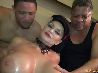 Theree black guys fulfilled sexual needs of brunette granny