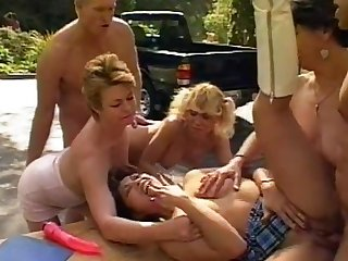 Steamy open-air orgy with Sharon Boonies and revision horny stunners