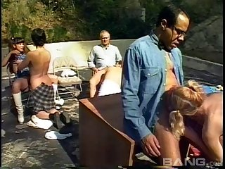 Fantastic outdoor orgy with cock-hungry sluts like Sharon Woods