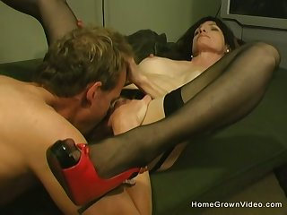 Beautiful prex brunette adult gets licked and fucked