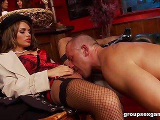 Amy Azzura and Anna Lovato fucked in a nasty massive group coition