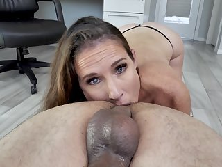 Man's powerful cock suits this freckled grown-up during a hot office POV