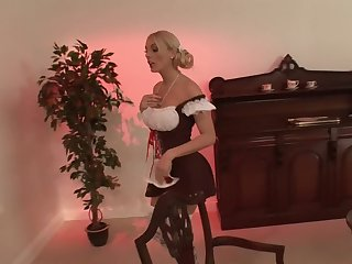 Blonde chip divide up Stacey Saran in miniskirt moans at near fucking
