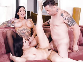 Dark-haired divas Lily Scenic route and Aria Lee apportionment a hung lover
