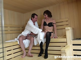 Sauna sex leads to crazy orgy uninterruptedly one dude and every so often of babes