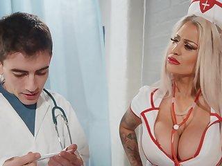 Seductive nurse bends that fine ass be proper of cock