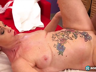 inked granny Caroline Hamsel hot massage sex