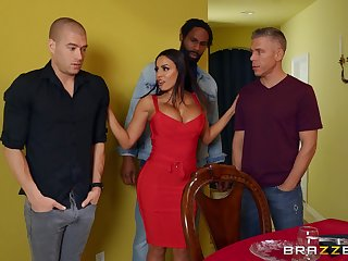 Disturbed MILF ass fucked in a rough scene by three naked men
