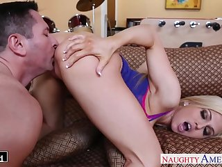 36Big breasted blonde Christie Stevens seduces dude to ride his strong cock