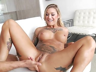 Inked and tanned MILF squirts by way of hard sex with maestro