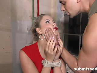 Submissive blonde gets the dick in both holes while fleshly predestined up
