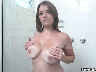 Denuded busty wife takes her dose of BBC wide a kinky shower play