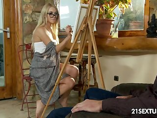 Handsome artist Lindsey Olsen is fucked in brashness pussy and anus