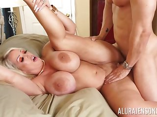 Busty blonde Alura Jenson takes a hard locate in their way tight pussy