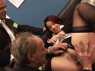 Nude woman ass fucked by a pair be required of older dudes