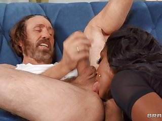 In the buff lord it over ebony MILF rams white senior cock