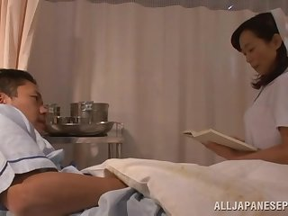 Sensual lovemaking on the hospital bed with a kinky Asian nurse