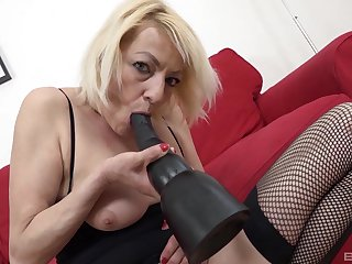 Naughty blonde mature Adriana Have a crush on opens legs for interracial anal sex
