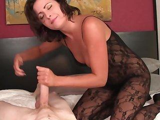 Helena Entrust confidently sucks pale-skinned virgin absent alongside bed