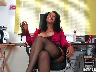 Trimmed pussy mature Danica Collins spreads her legs to masturbate