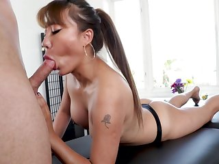 Sexy Tiffany Rain serious cock sucking on white man's hammer